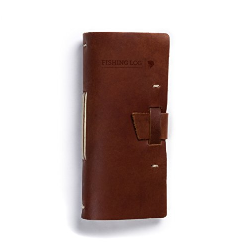 Rustico Leather Fishing Log Book Designed by and for Fishermen. with Template, Records Details of Fishing Trip, Including Date, Time, Location, and Weather Conditions (Saddle)