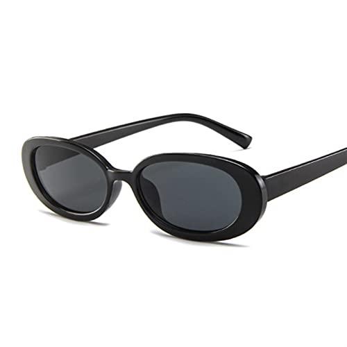 YSJJXTB Gafas de Sol Estilo Oval Gafas de Sol Mujer Vintage Retro Marco Redondo Blanco Hombres Gafas de Sol Hembra Hombre Negro Hop Lentes Claro Gafas de Sol (Lenses Color : BlackGray)