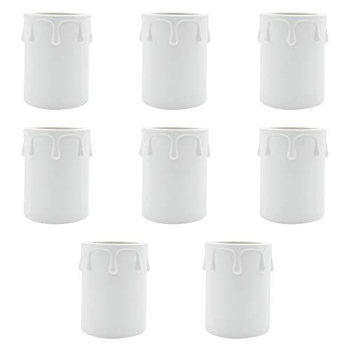 KingYH 8 Piezas Manga para vela 60mm Diámetro de 43 mm Plástico Vela Casquillo Colgante de Techo Lámpara de Techo Soporte Decorativo para Velas -Blanco