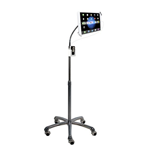"""CTA Digital: Heavy-Duty Height-Adjustable, Rotating Tablet Stand with Security, Gooseneck and Locking Wheels for 7-13"""" Tablets, Including iPad 10.2-Inch (7th & 8th Gen.), Silver"""