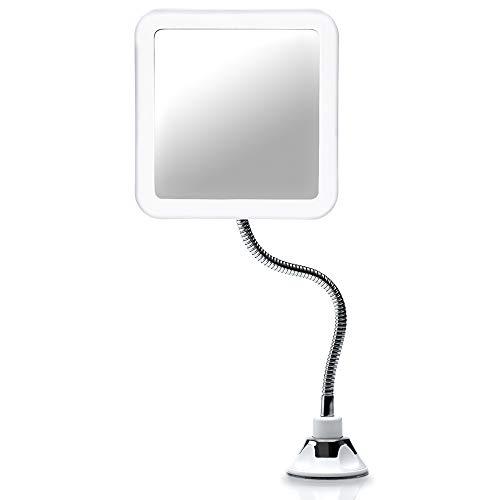 Fancii Espejo Maquillaje Flexible con Aumento de 10x, Luz LED Natural, Poderoso Ventosa, Rotación 360° - Espejo Iluminado de Baño para Cosmético, Afeitar y Viaje (Mira Plus)