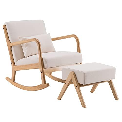 HAQTXI Stoff Eiche Sofa Schaukelstuhl Gepolsterte Sitz Akzent Freizeit Entspannungsstuhl für Wohnzimmer, Schlafzimmer und Büro beige (Color : 1 Chair 1 Footstool)