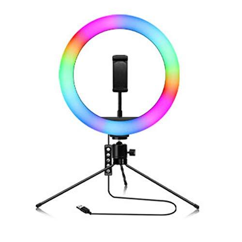 YIBOKANG 26 Cm RGB Música Rhythm Modo LED Anillo Live Hermoso Color Acabado Acabado Soporte De Tres Polos Bluetooth Selfie Fotografía USB Live Llenaje Luz