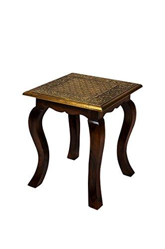 Marokkanischer Beistelltisch Couchtisch aus Holz massiv Anum 40 cm | Vintage Tisch aus Massivholz mit Messing verziert für Ihre Wohnzimmer | Niedriger Orientalischer Sofatisch Massivholztisch Braun