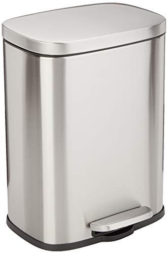 Amazon Basics Rectangle Soft-Close Trash Can - 12L, Satin Nickel