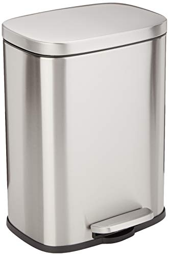 Amazon Basics Rectangle Soft-Close Trash Can - 12L, Satin Nickel