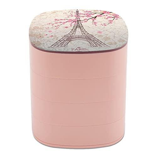 Caja de almacenamiento para joyas de 4 capas, giratoria de 360 grados, para joyas, para anillos, pendientes, collares, broches, baratijas, vintage, Torre Eiffel de París con flor de cerezo rosa