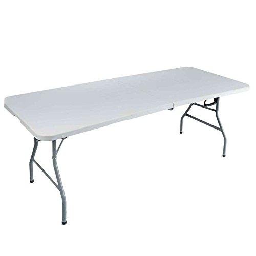 CROSS OUTDOOR 09272 - Table Pliante Rectangulaire - 180 x 75 x 74 cm - Jusqu' à 8 Couverts - Blanc Cassé