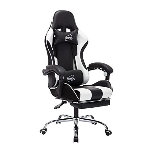 Neo Silla de carreras de cuero para juegos de carreras de oficina reclinable ejecutivo con reposapiés almohada para el cuello (blanco)