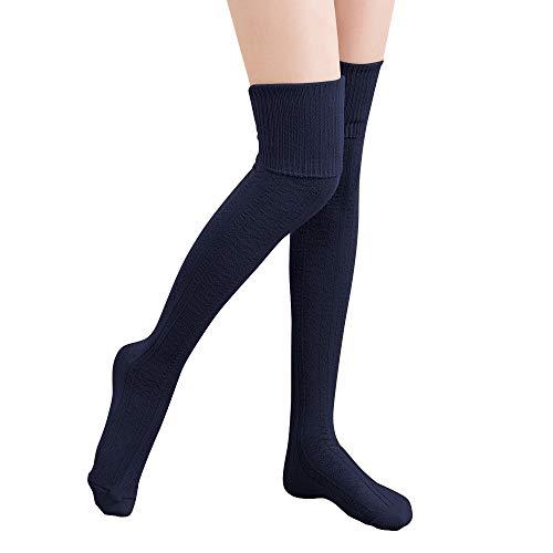 Hitop Oberschenkelhohe Kniestrümpfe für Damen, Mädchen, Winter, warm, gehäkelt, lange Socken, Beinwärmer, Leggings -  blau -  Einheitsgröße Passen Alle
