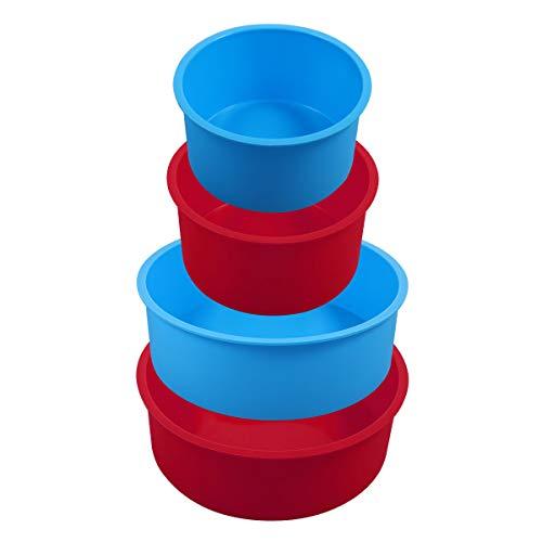 Diealles Shine 4 Unidades Molde Redondo de Silicona para Hornear Tartas, 4 Pulgadas, 6 Pulgadas, Antiadherentes, Bandeja para Hornear para Cumpleaños, Bodas, Aniversarios (Azul,Rojo)