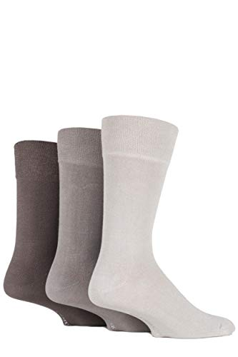 Glenmuir Mens 3 Pair Plain Comfort Cuff Socks 7-11 Herren Beige