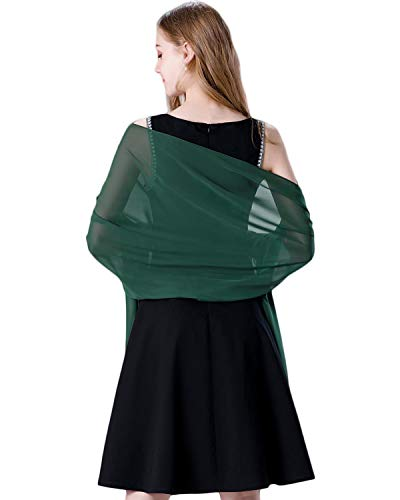 Soft Chiffon Scarve Shawls Wraps for Dresses Women Accessories Dark Green