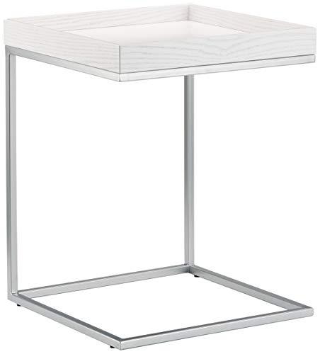 Jan Kurtz bijzettafel, eiken, wit/lunarzilver, 40 x 40 x 52 cm
