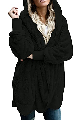 UMIPUBO Mujer Sudadera Manga Larga Sudadera con Capucha Caliente y Esponjoso Caliente Suéter Bolsillos Jersey Otoño-Invierno Hoodie Tops Talla Grande Oversize (Negro, L)