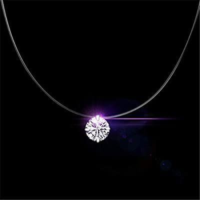 Taille au choix - Collier invisible Nylon - Solitaire Brillant Swarovski - Finition Argent 925 - Strass diamant zircon zirconium