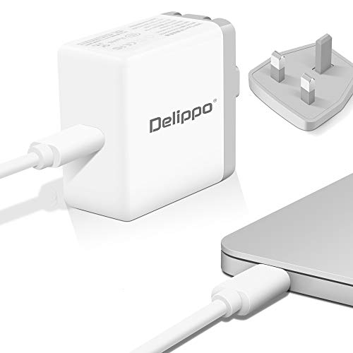 """Delippo for 14.5V 3.1A 45W Magsafe 1 L-Tip Magnetic Connector AC Power Adapter Replacement Charger for A1237 A1244 A1304 A1369 A1374 A1377 11"""" 13"""" (Before Mid 2012)"""