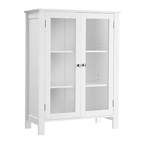VASAGLE Storage Cabinet, Sideboard, Display Cupboard with 2 Adjustable Shelves, Transparent Glass Doors, Handles, Scandinavian Nordic, 26 x 11.8 x 34.3 Inches, Matte White UBBC80WT
