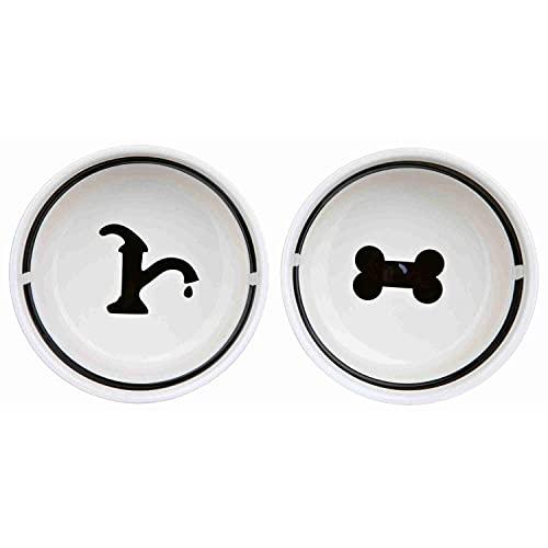 Trixie 24641 Eat-on-Feet Napf-Set, 2 × 0,6 l/ø 15 cm, weiß/schwarz - 2