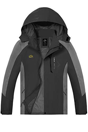Mens Rain Jacket Waterproof Hiking Coat Windproof Mountain Jacket Lightweight Windbreaker with Hooded(BK 2XL) Black