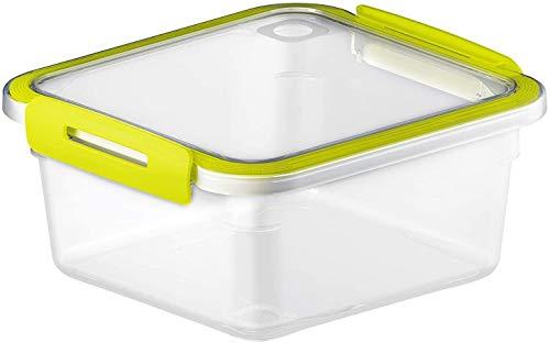 Rotho Memory Boîte Carrée pour Aliments Frais 1L avec Couvercle, Plastique (PP) sans BPA, Transparent / Vert, 1L (16,0 x 15,0 x 7,7 cm)