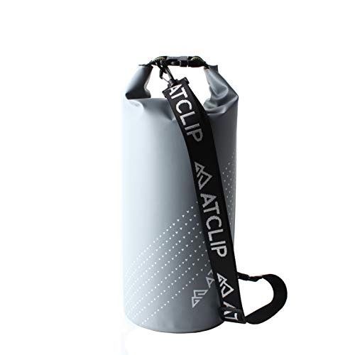 ATCLIP Bolsa seca impermeable 10L 500D lonas flotantes con correas para el hombro mantiene el equipo seco para kayak, playa, rafting, canotaje, senderismo, camping y pesca (gris)