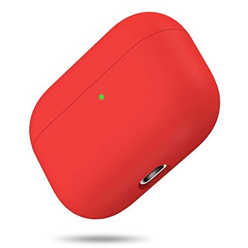 Miracase Cover per Airpods Pro, custodia protettiva in silicone liquido a triplo strato, per AirPods Pro, 2019 Release LED Visible Antiurto e morbido silicone non aggressivo sulla pelle(Rosso)