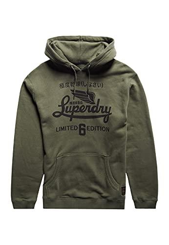 Superdry Military Graphic UB Hood Sudadera con Capucha, Black Olive Grit, L para Hombre
