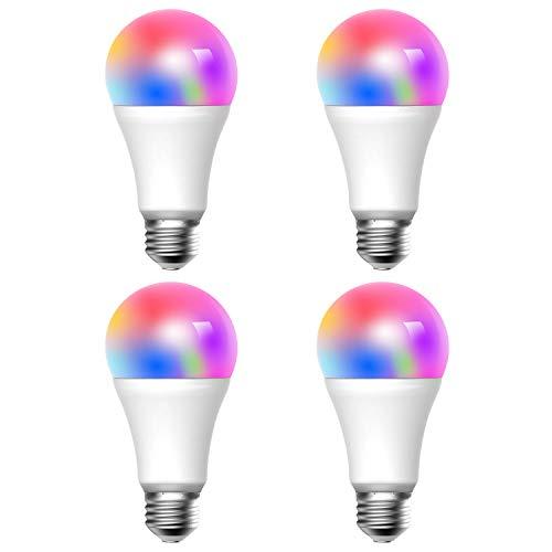 Ampoule WiFi Meross, 4 Pièces LED E27 Ampoule Intelligente Compatible avec Alexa, Google Home et IFTTT, 2700K-6500K Ampoule avec 16 Millions de Couleurs Dimmable et 9W Équivalent à 60W
