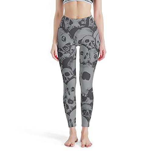 Leggings para mujer con diseño de calavera, para correr, yoga, gimnasio. blanco XXXXL