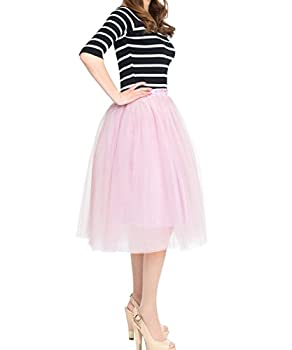 Women s Princess Flowing A Line Midi/Knee Length Tutu Tulle Skirts Fluffy for Bridal Shown Party Dusty Pink