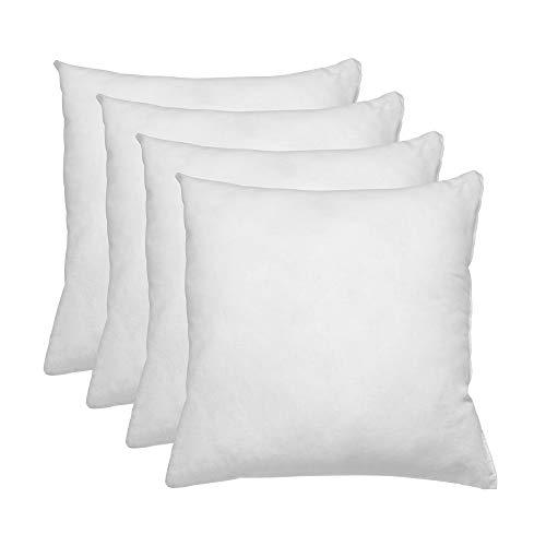 Relleno de cojin 45x45 Pack 4 Unidades / Relleno de Fibra Hueca conjugada siliconada Ideal para Rellenar Cojines Decorativos ,Cojines para Cama, Cojines de Sofa, almohadones