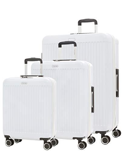imome Fresh Set de Maletas Blancas Cierre de Combinación 55/67/77 cm Expandibles | Trolley de Viaje Ultra Ligeras | Maletas de Viaje Rígidas 100% ABS Reforzadas, Antiarañazos