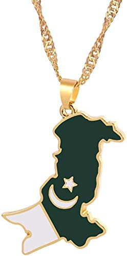 niuziyanfa Co.,ltd Collar para Mujer Collar Hombres na Pakistan Mapa y Bandera Colgante Collar Oro Color Pakistan Esmalte Cadena Collar para Mujer pakistaní étnico Colgante joyería Colgante Collar