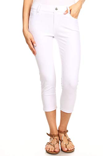 ICONOFLASH Women's Plus Size White 5 Pocket Capri Jeggings 2XL - Pull On Skinny Stretch Colored Jean Leggings Size 2X-Large