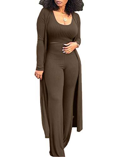 Conjunto de pantalones y top sexy de 3 piezas para mujer, camiseta de manga larga, cárdigan informal Verde militar. XXL