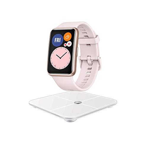 "HUAWEI Watch FIT Smartwatch, 1,64"" AMOLED-Display, 10 Tage Akkulaufzeit, 96 Trainingsmodi, GPS, 5ATM, SpO2-Sensor, Herzfrequenzmessung-Sakura Pink, Exklusives Bundle Körperwaage"