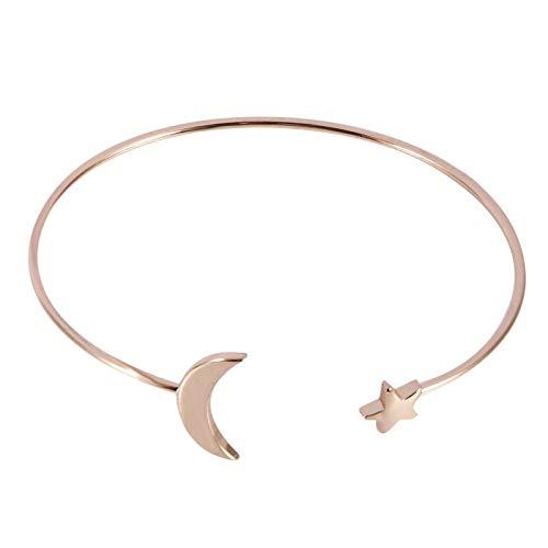 DAUERHAFT Pulsera Moon Star Duradera, Suave Cómoda para Mujeres, Niña, Esposa con Decoración Moon Star(Rose Gold)
