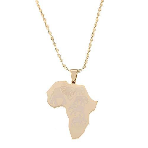 Collar con colgante de mapa de África de acero inoxidable para mujeres, hombres, Color dorado, mapas africanos, elefante, joyería de moda