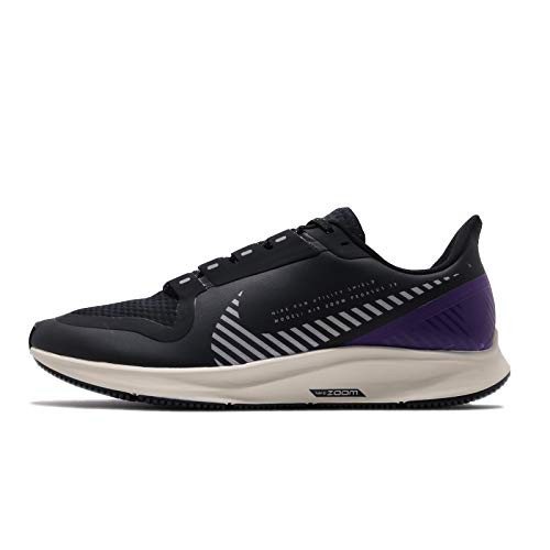Nike Men's Air Zoom Pegasus 36 Shield 39s Running Shoes, Black/Silver/Desert Sand/Va Purple, 10 UK