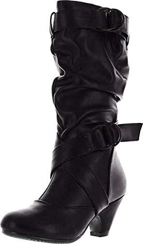 Pauline-39K Jr Girls Slouch Buckle High Heel Mid Calf Boots,Black/Blk Pu,3