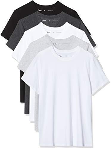 Marca Amazon - find. Camiseta con Cuello Redondo Hombre, Pack de 5, Multicolor (Wht/Blk/Gry/Char), M, Label: M