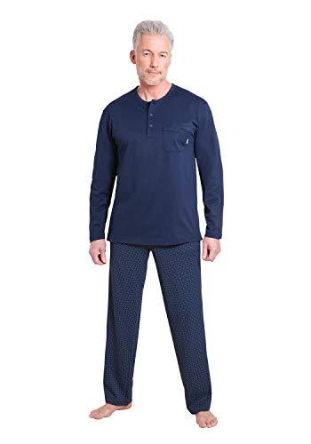 hajo Herren Schlafanzug zweiteilig - Klima Komfort - mit Rundhalsausschnitt, Marine (609), 62 (5XL), Farbe:Marine (609), Größe:60