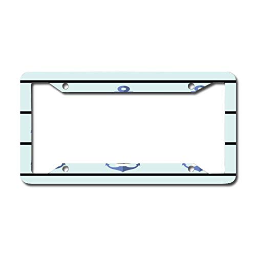 Bright Blue Anchor License Plate Frame Aluminum Metal License Plate Frame Car Tag Novelty Home Decoration for Women Girls Men Boys 6.3 X 12.2 Inch