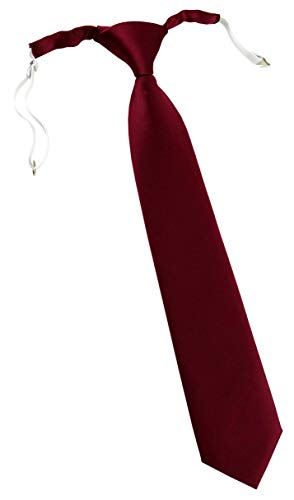 TigerTie Designer Security Sicherheits Krawatte in bordeaux einfarbig Uni - vorgebunden mit Gummizug in weiß