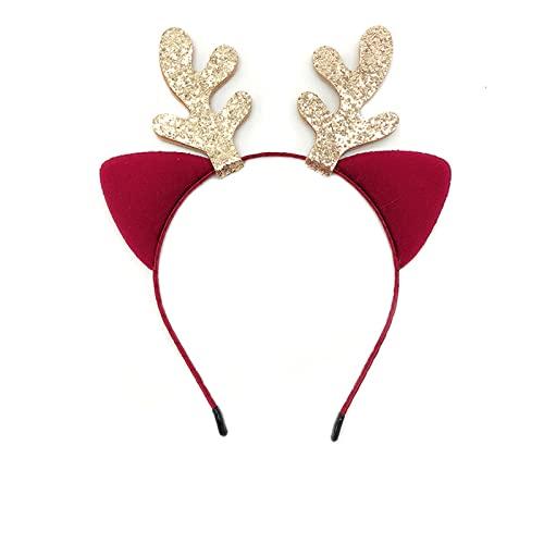 ZDSS Diademas navideñas,2piezas Astas de Reno Diadema Adornos navideños Diadema de Lentejuelas de árbol de Navidad Diademas para Fiestas de Navidad Regalos,Astas y Orejas de Gato