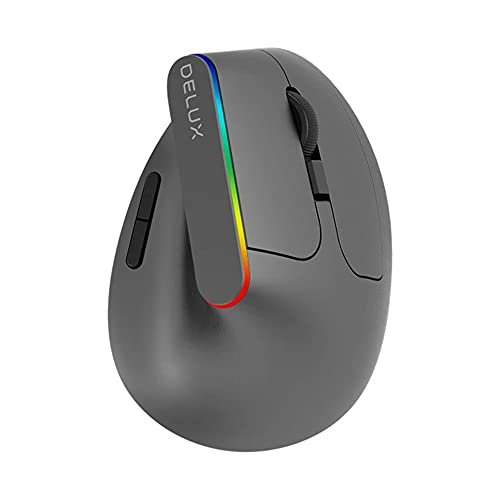Delux M618C Wireless Mouse Ergonomic Vertical 6 Buttons Gaming Mouse RGB 1600 DPI Optical Mice with for PC Laptop M618C Gray China