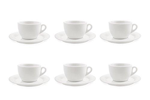 Galileo Casa Bianco Set 6 Tazze da Thè con Piattini, Porcellana