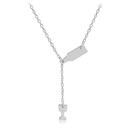 TTDAltd Halskette Bier Tasse Lange Anhänger Halskette für Frauen Weinflasche Gold Silber Farbe Dreieck Statement Halskette Party Schmuck-Silber