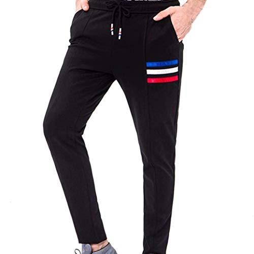 Pantaloni Uomo Estate Lhwy Uomo Uomo Sportiva Fit Slim Completo Tuta Pantaloni Casual Pantaloni Sportivi da Corsa con Bende Tascabili Pantaloni Lunghi Neri (Color : Nero, Size : M)